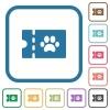 pet shop discount coupon simple icons - pet shop discount coupon simple icons in color rounded square frames on white background