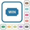 Winner ticket simple icons - Winner ticket simple icons in color rounded square frames on white background