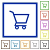 Empty shopping cart flat framed icons - Empty shopping cart flat color icons in square frames on white background