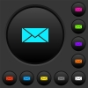 Single envelope dark push buttons with vivid color icons on dark grey background