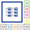 Single image selection with radio buttons flat framed icons - Single image selection with radio buttons flat color icons in square frames on white background