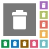 Single trash square flat icons - Single trash flat icons on simple color square backgrounds