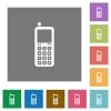 Retro mobile phone square flat icons - Retro mobile phone flat icons on simple color square backgrounds