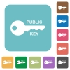 Public key rounded square flat icons - Public key white flat icons on color rounded square backgrounds