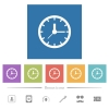 Analog clock flat white icons in square backgrounds - Analog clock flat white icons in square backgrounds. 6 bonus icons included.