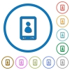 Mobile user profile flat color vector icons with shadows in round outlines on white background