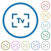 Camera time value mode icons with shadows and outlines - Camera time value mode flat color vector icons with shadows in round outlines on white background