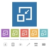 Shrink window flat white icons in square backgrounds. 6 bonus icons included.