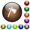 Single tomahawk color glass buttons - Single tomahawk white icons on round color glass buttons