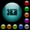 Indian Rupee discount coupon icons in color illuminated glass buttons - Indian Rupee discount coupon icons in color illuminated spherical glass buttons on black background. Can be used to black or dark templates