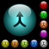 Merge arrows up icons in color illuminated glass buttons - Merge arrows up icons in color illuminated spherical glass buttons on black background. Can be used to black or dark templates