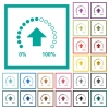 Download in progress flat color icons with quadrant frames - Download in progress flat color icons with quadrant frames on white background