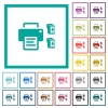 Printer and ink cartridges flat color icons with quadrant frames - Printer and ink cartridges flat color icons with quadrant frames on white background