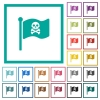 Pirate flag flat color icons with quadrant frames on white background