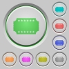 Ticket with stars push buttons - Ticket with stars color icons on sunk push buttons