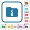 Compressed folder simple icons - Compressed folder simple icons in color rounded square frames on white background