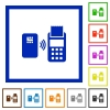 Contactless payment flat color icons in square frames on white background
