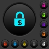 Locked Dollars dark push buttons with vivid color icons on dark grey background