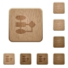 Flowchart on rounded square carved wooden button styles - Flowchart wooden buttons