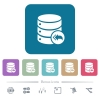 Database loopback white flat icons on color rounded square backgrounds. 6 bonus icons included