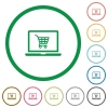 Webshop flat icons with outlines - Webshop flat color icons in round outlines on white background