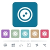 Dress button with 2 holes flat icons on color rounded square backgrounds - Dress button with 2 holes white flat icons on color rounded square backgrounds. 6 bonus icons included