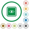 Invert object flat icons with outlines - Invert object flat color icons in round outlines on white background
