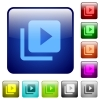 Video library color square buttons - Video library icons in rounded square color glossy button set