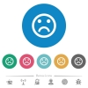 Sad emoticon flat white icons on round color backgrounds. 6 bonus icons included. - Sad emoticon flat round icons