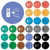 Network file system with server round flat multi colored icons - Network file system with server multi colored flat icons on round backgrounds. Included white, light and dark icon variations for hover and active status effects, and bonus shades.
