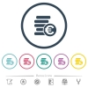 Euro coins flat color icons in round outlines - Euro coins flat color icons in round outlines. 6 bonus icons included.