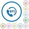 Emergency call 911 icons with shadows and outlines - Emergency call 911 flat color vector icons with shadows in round outlines on white background