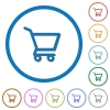 Empty shopping cart flat color vector icons with shadows in round outlines on white background - Empty shopping cart icons with shadows and outlines