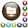 FTP over ssl color glass buttons - FTP over ssl white icons on round color glass buttons