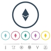 Ethereum digital cryptocurrency flat color icons in round outlines - Ethereum digital cryptocurrency flat color icons in round outlines. 6 bonus icons included.