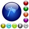 Single tomahawk color glass buttons - Single tomahawk icons on round color glass buttons