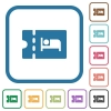 Accommodation discount coupon simple icons - Accommodation discount coupon simple icons in color rounded square frames on white background
