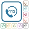 Emergency call 112 simple icons - Emergency call 112 simple icons in color rounded square frames on white background