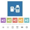 Contactless payment flat white icons in square backgrounds - Contactless payment flat white icons in square backgrounds. 6 bonus icons included.
