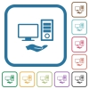 Shared computer simple icons - Shared computer simple icons in color rounded square frames on white background
