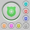 Police badge push buttons - Police badge color icons on sunk push buttons