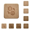 Yen new Shekel money exchange on rounded square carved wooden button styles - Yen new Shekel money exchange wooden buttons