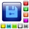 Encrypt file color square buttons - Encrypt file icons in rounded square color glossy button set