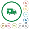 Fast delivery truck flat icons with outlines - Fast delivery truck flat color icons in round outlines on white background