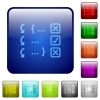 Debugging program color square buttons - Debugging program icons in rounded square color glossy button set