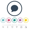 Blog comment bubble flat color icons in round outlines. 6 bonus icons included. - Blog comment bubble flat color icons in round outlines
