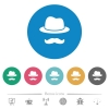 Incognito with mustache flat round icons - Incognito with mustache flat white icons on round color backgrounds. 6 bonus icons included.
