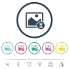 Image processing flat color icons in round outlines - Image processing flat color icons in round outlines. 6 bonus icons included.