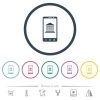 Mobile banking flat color icons in round outlines - Mobile banking flat color icons in round outlines. 6 bonus icons included.