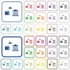 Money withdrawal from bank outlined flat color icons - Money withdrawal from bank color flat icons in rounded square frames. Thin and thick versions included.